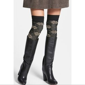 FREE PEOPLE Snowflake Ribbed Thigh High Socks